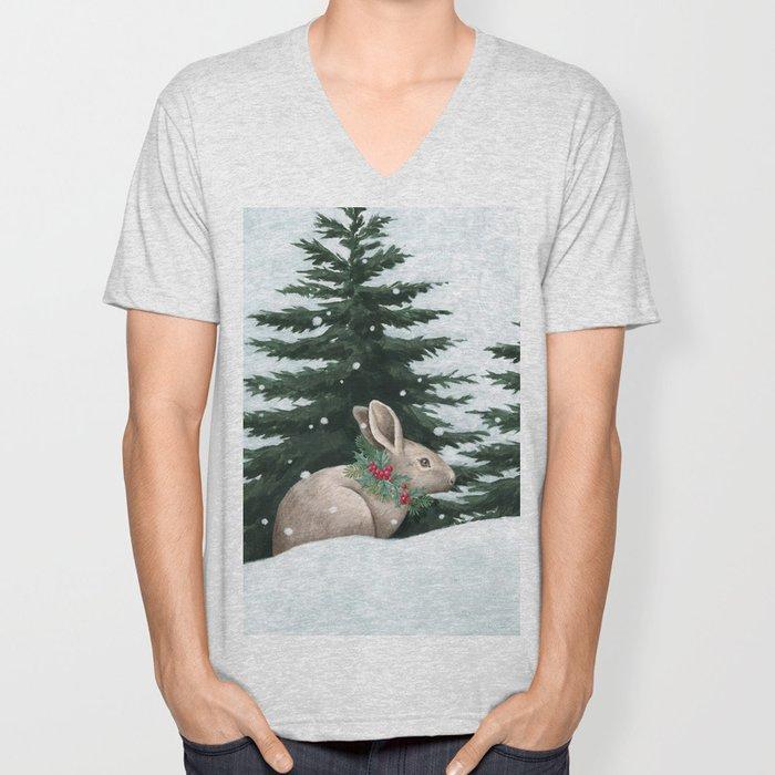 Winter Bunny Unisex V-Neck