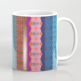 Glowing Coral, Magenta and Turquoise Zag Honeycomb Modern Stripes Coffee Mug
