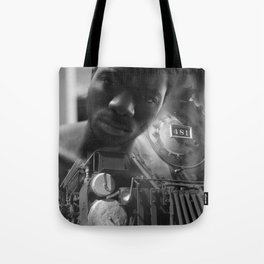 Man and the train Tote Bag