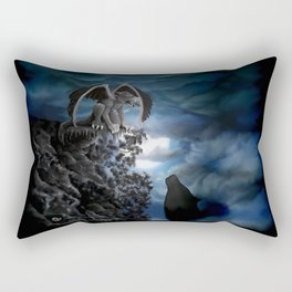 Wolfmoon , Wolf with Golem Rectangular Pillow