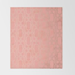 Simply Mid-Century in White Gold Sands on Salmon Pink Throw Blanket