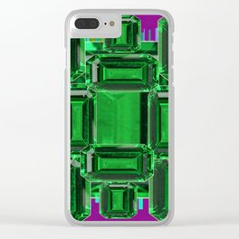 Emerald Gems May Babies Birthstones on Purple Clear iPhone Case