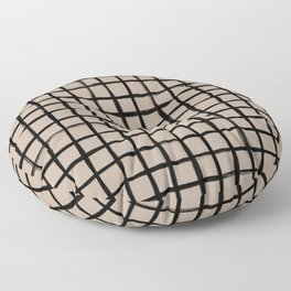 Strokes Grid - Black on Nude Floor Pillow