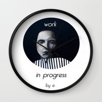 musa Wall Clocks featuring Work in progress by e. - MusA by Michela Ezekiela Riba