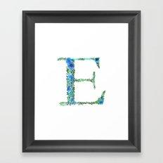 Floral Monogram Letter E Framed Art Print