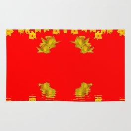 DECORATIVE RED YELLOW DAFFODILS ART Rug
