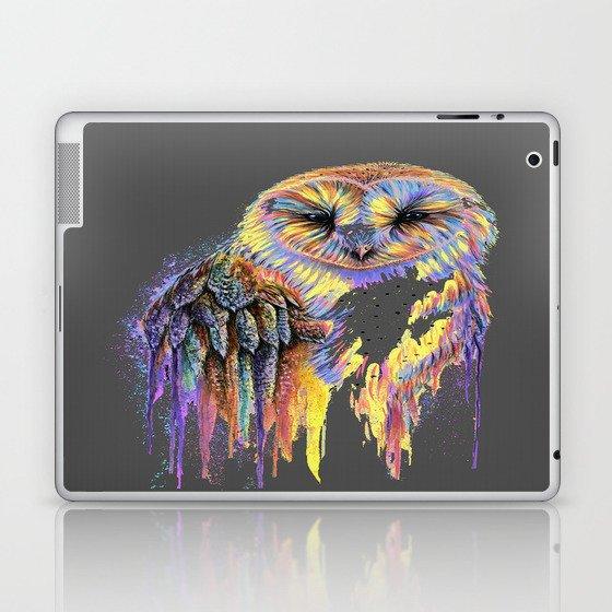 Colorful Owl Dark Background Laptop & iPad Skin