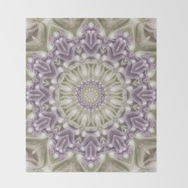 Lilac and Green Mandala Throw Blanket