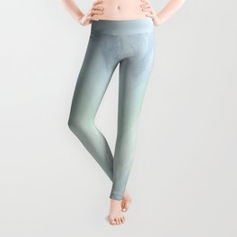 Modern geometrical pastel blue mint green watercolor ikat Leggings
