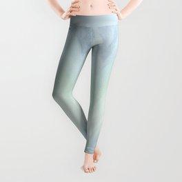 Modern geometrical pastel blue mint green watercolor ikat Leggings