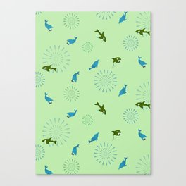 Green Orca and Dolphin Canvas Print