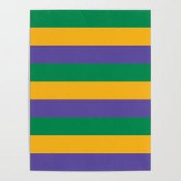 Mardi Gras Rugby Stripe Poster