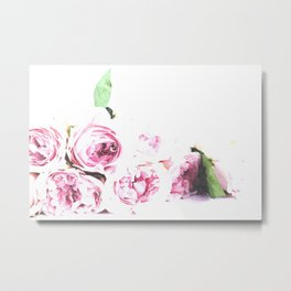 Pink flower watercolor illustration Metal Print