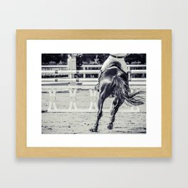 Horse and rider in uniform performing jump, black and white Framed Art Print