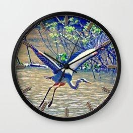 Flying (Blue Heron) Wall Clock