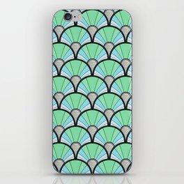 Green Pastel Art Deco Fan Pattern iPhone Skin
