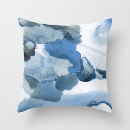 Pre-Dawn: a pretty, dramatic, mixed-media piece in shades of blues Throw Pillow