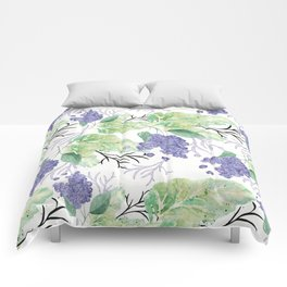 Lilac flowers on a white background. Comforters