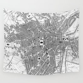 Vintage Map of Sheffield England (1823) Wall Tapestry
