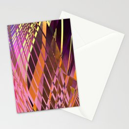 PRETTY VIOLET YELLOW SWEEPING LINE PATTERN Stationery Cards