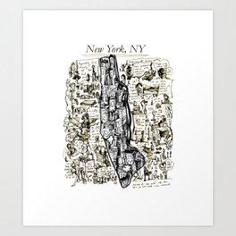 Hand-Drawn Map of New York City Art Print