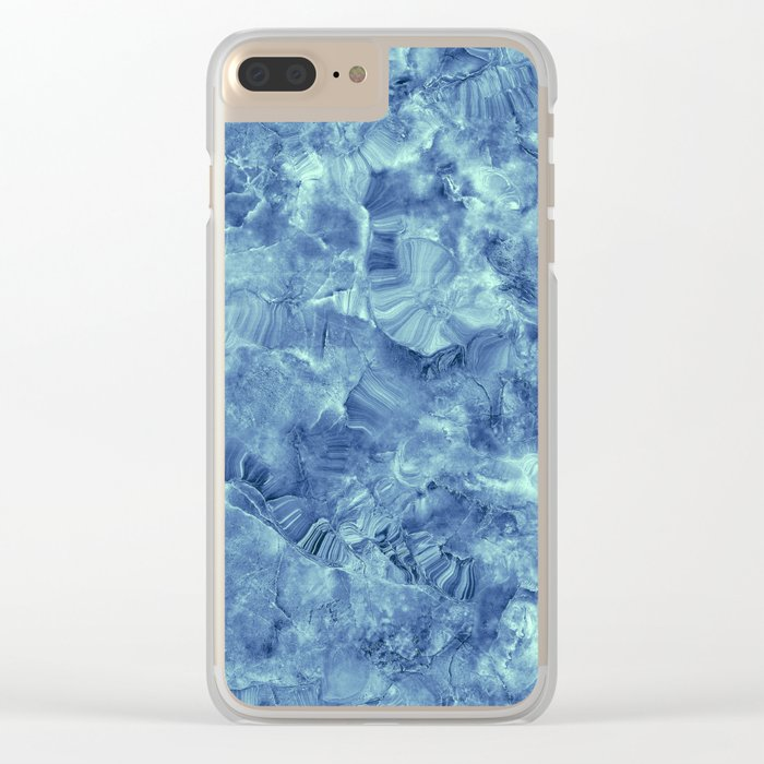 Blue onyx marble Clear iPhone Case