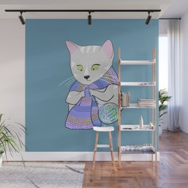 Autumn and winter cats - knitting Wall Mural