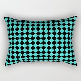 Black and Turquoise Diamonds Rectangular Pillow
