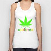 wiz khalifa Tank Tops featuring Addicted Marijuana Plant Funny T-Shirt 420 Cannabis Weed Pot Dope Stoner Khalifa by arul85