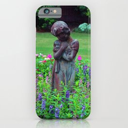 Child With Her Pet Statue iPhone Case