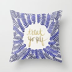 Treat Yo Self – Gold & Navy Throw Pillow