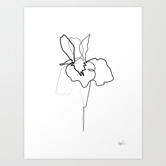Continuous Line Drawing Quibe : One line iris art print by quibe society