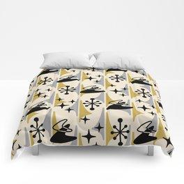 Mid Century Modern Cosmic Boomerang 726 Black Gold and Gray Comforters