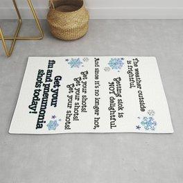 Winter Flu and Pneumonia vaccine signage Rug