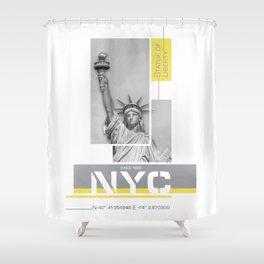 NYC Statue of Liberty | Illuminating Yellow & Ultimate Grey Shower Curtain
