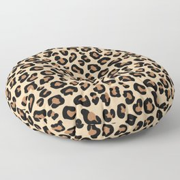 Leopard Print, Black, Brown, Rust and Tan Floor Pillow
