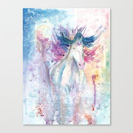 Unicorn Watercolor Art Canvas Print