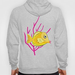 Yellow Tang in a Pink Coral Sea Hoody