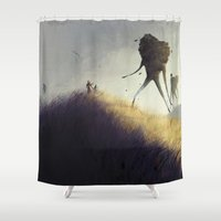 giants Shower Curtains featuring The Earth Giants by Bess A. Yontz