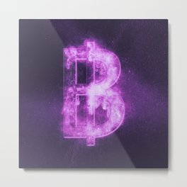Thai Baht sign, Thailand baht symbol. Monetary currency symbol. Abstract night sky background. Metal Print