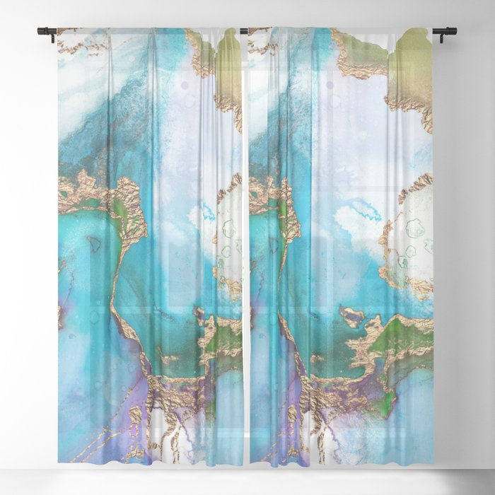 Abstract Marble Mermaid Gemstone With Gold Glitter Sheer Curtain