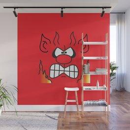 Red Cartoon Devil Face Wall Mural
