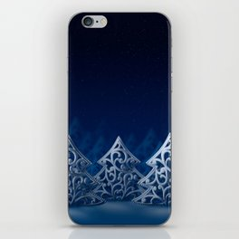 Three white Christmas trees iPhone Skin