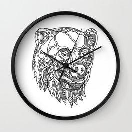Brown Bear Head Doodle Wall Clock