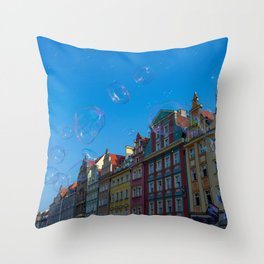 Summer soap bubbles in the city Throw Pillow
