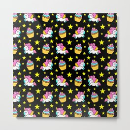Cute colorful magical baby unicorns and sweet yummy cupcakes and bright golden stars black fantasy pattern design. Nursery decor ideas. Funny gifts for unicorn lovers. Metal Print