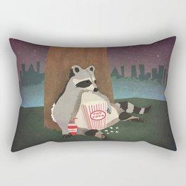 Cute Raccoon Snacking in the Night Rectangular Pillow