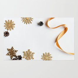 Snowflakes, Ribbons And Pinecones Rug