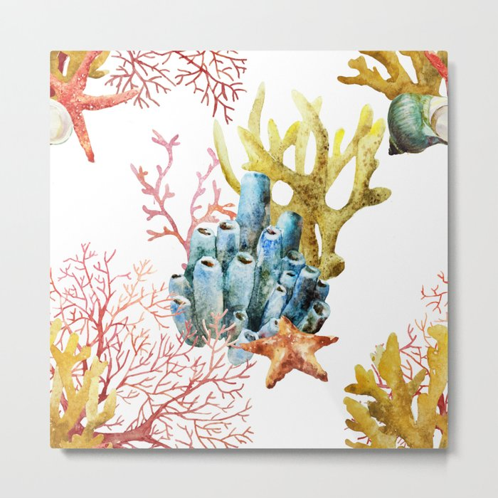 Sea Life Pattern 11 Metal Print