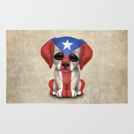 Cute Puppy Dog with flag of Puerto Rico Rug